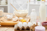 Close view of flour and ingredients for making dough at home - 195125971