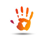 Hand print sign icon. Stop symbol. Blurred gradient design element. Vivid graphic flat icon. Vector - 195126737