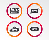 Live music icons. Karaoke or On air stream symbols. Cloud sign. Infographic design buttons. Circle templates. Vector - 195128788
