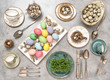 Easter decoration colorful eggs Holidays table setting