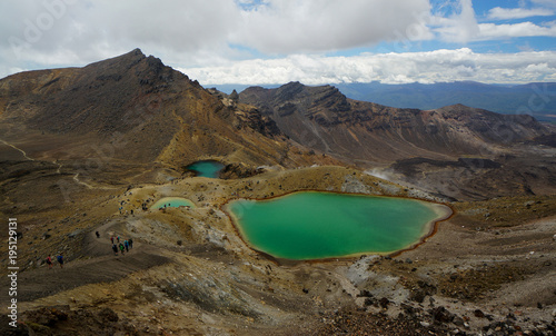 Emerald Lakes and volcanic landscape, Tongario Alpine Crossing, Tongario National Park, New Zealand