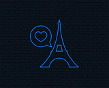 Neon light. Eiffel tower icon. Paris symbol. Speech bubble with heart sign. Glowing graphic design. Brick wall. Vector