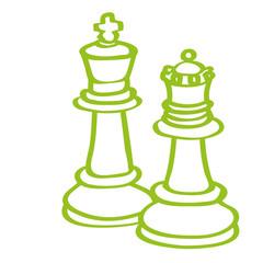 Handgezeichnete Schachfiguren in hellgrün