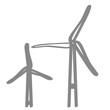 Handgezeichnetes Windrad in grau