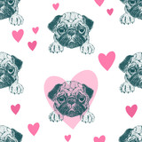 Seamless pattern with pretty pug puppy. - 195139161