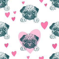 Seamless pattern with pretty pug puppy.