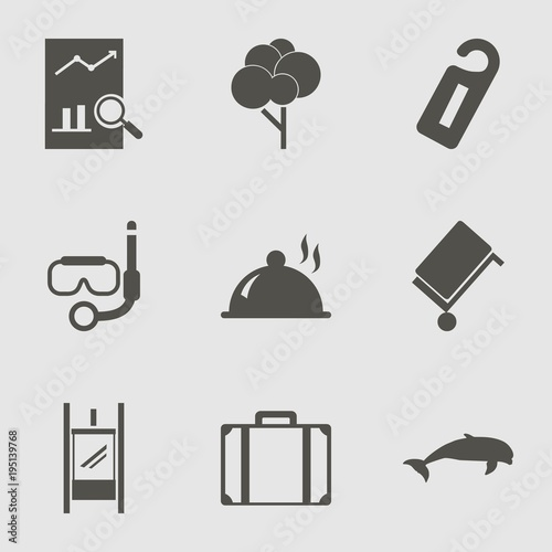 Fototapeta Travel Icon Set with dolphin, suitcase, map and luggage
