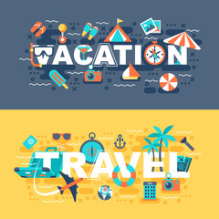 Travel and vacation set of flat concept. Banners with slogan for website and graphic design. Flat icons. Mobile and print media. Vector illustration.