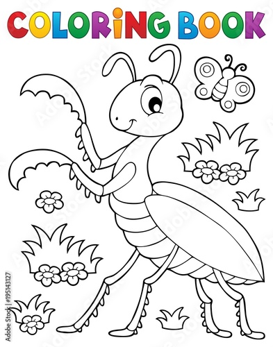 Fotobehang Voor kinderen Coloring book praying mantis theme 1