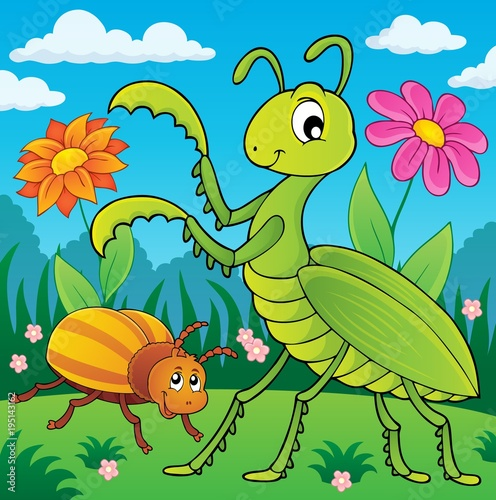 Fotobehang Voor kinderen Meadow with praying mantis and bug