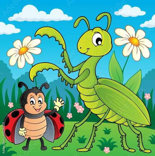 Fotobehang Voor kinderen Meadow with praying mantis and ladybug
