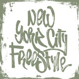 New York City freestyle lettering with grunge hand drawing texture, design for t-shirt.