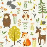 Cute Seamless Pattern  Wild Animals Wall Sticker