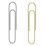 Vector realistic paper clip. Paper clip for gold and silver colors. Isolated on white. Gold and silver gradient. Vector EPS 10. - 195151730