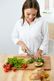 Healthy Diet. Woman Cooking Food, Cutting Vegetables For Salad