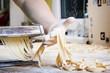 Fresh pasta  on kitchen table