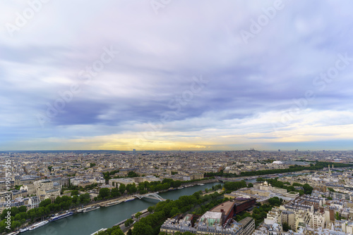 Deurstickers Parijs Beautiful cityscape of Paris from The Eiffel Tower viewing Basilica of the Sacred Heart of Paris in distance in twilight , France