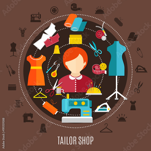 Tailor Shop And Sewing Concept