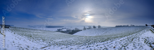 Winter snow scene over Hambledon and the South Downs, Hampshire, UK