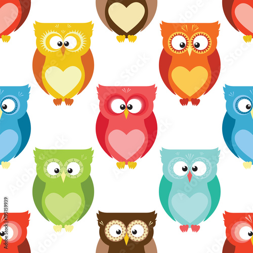 Fotobehang Uilen cartoon Cartoon owls pattern