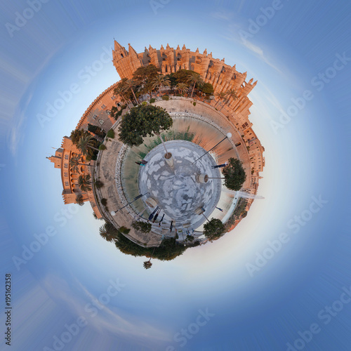 Palma de mallorca Cathedral Small world panorama - 195162358