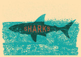 Shark swimming in sea on old paper poster - 195165194