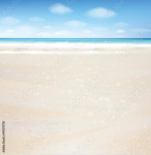 Vector  ocean with blue  sky and sandy beach.