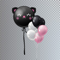 Vector realistic bunch helium balloons with giant black balloon isolated.