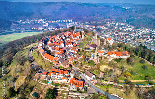 Aerial view of Dilsberg, a town with a castle on the top of a hill surrounded by a Neckar river loop. Germany