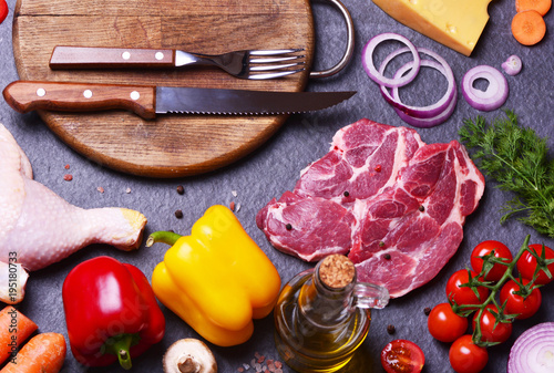 Aluminium Steakhouse Pork steak with vegetables and spices