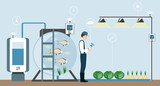 Growing plants in the greenhouse. Smart farm with wireless control. Eco farm with aquaponics system of planting vegetables. Vector illustration. - 195184921