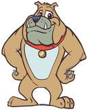 Friendly Cartoon Bulldog Mascot with Hands on Hips - 195191792