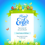 Holiday Easter template blue - 195192982