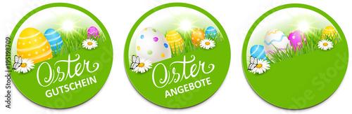 Button Set mit bunten Ostereiern und Blumenwiese - Ostern Gutschein, Osterangebot - 195198709