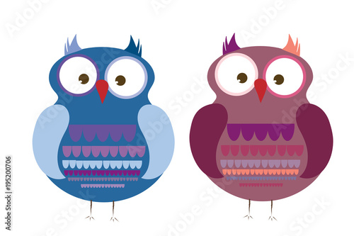 Fotobehang Uilen cartoon Vector illustration a pair of owls on white background.