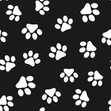Seamless pattern with paw prints. Design of accessories for pets. - 195200988