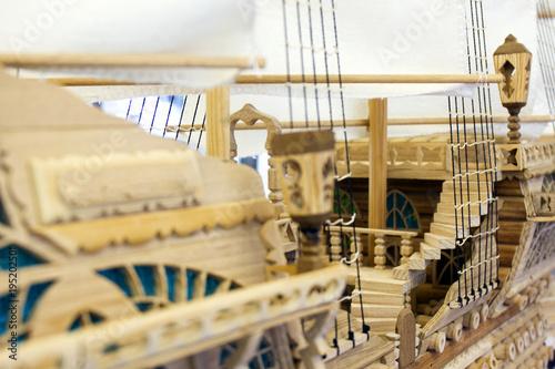 Foto op Canvas Schip Wooden ship model