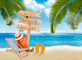 Seaside vacation vector. Travel items on the beach. - 195204150