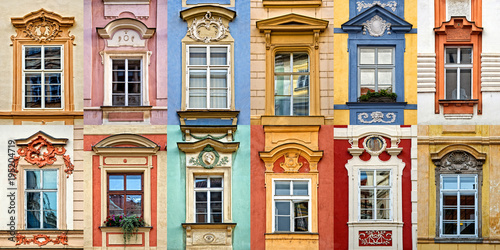 Collage of colorful windows with pediment of Prague, Czech Republic