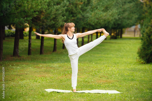 Plakat Woman Yoga relax outdoors