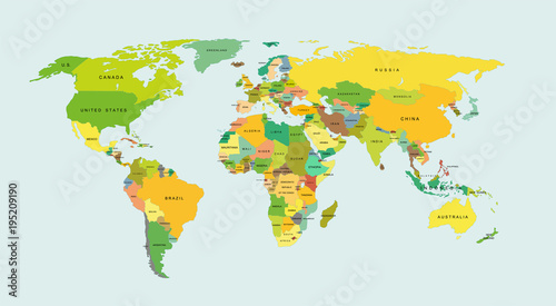 Detailed world map with countries. Vector illustration