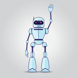 Robot Character On Gray  Wall Sticker