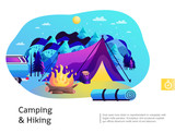 Camping Hiking Colorful Illustration  Wall Sticker
