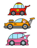 Three different colorful cartoon racing toy cars