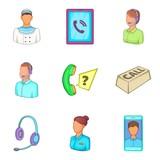 Characteristic icons set, cartoon style - 195222128