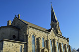 Christian landscape photo of a church cathedral with a steeple - 195222503