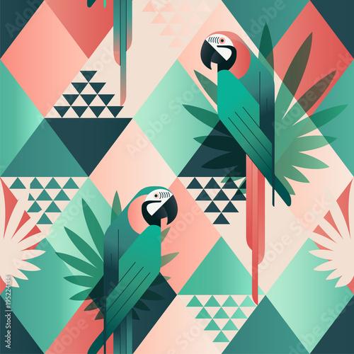 egzotyczny-plazowy-modny-bezszwowy-wzor-patchwork-ilustrujacy-kwiecisci-wektorowi-tropikalni-liscie-dzungla-czerwone-i-zielone-papugi-tapeta-wydruku-mozaiki-tla