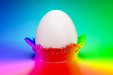 Easter concept, colored background. 3D rendering - 195226781
