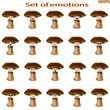 Set of emoticon. Mood. Icons cartoon mushrooms with different emotions. Smiley icons for web design. Icons from fungi. Different characteristic expressions. Vector illustration.