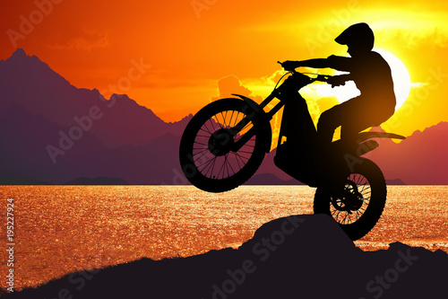 Foto op Canvas Oranje eclat motocycle at beach on twilight time